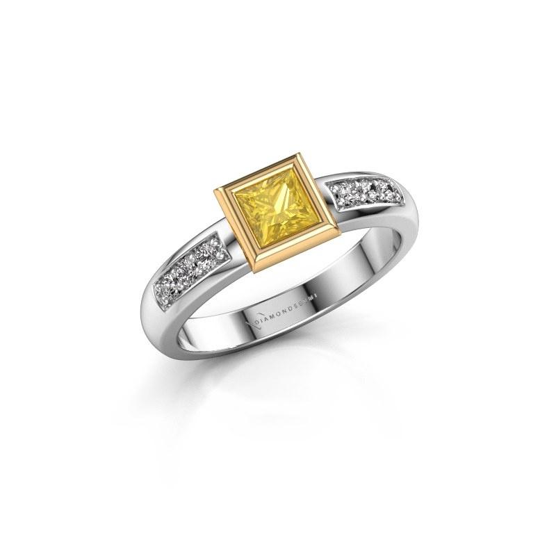 Steckring Lieke Square 585 Weißgold Gelb Saphir 4 mm