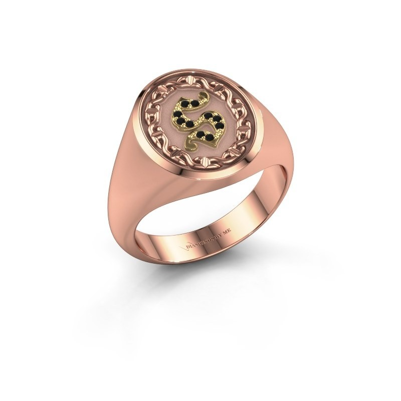 Men's ring Ruan 585 rose gold black diamond 0.06 crt