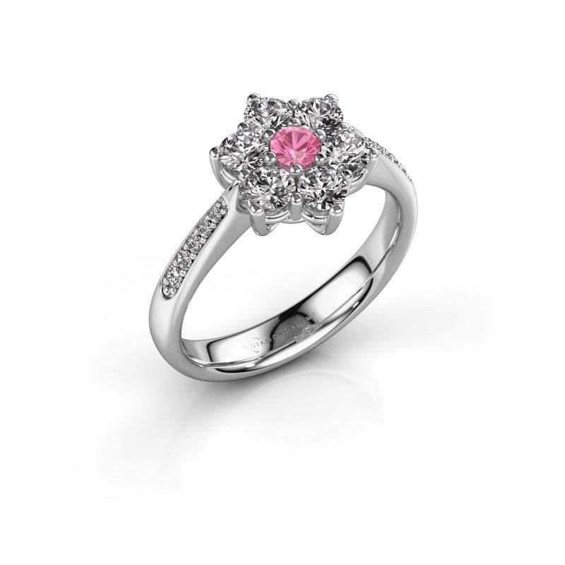 Verlovingsring Chantal 2 950 platina roze saffier 3 mm