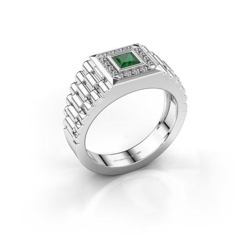 Heren ring Zilan 950 platina smaragd 4 mm