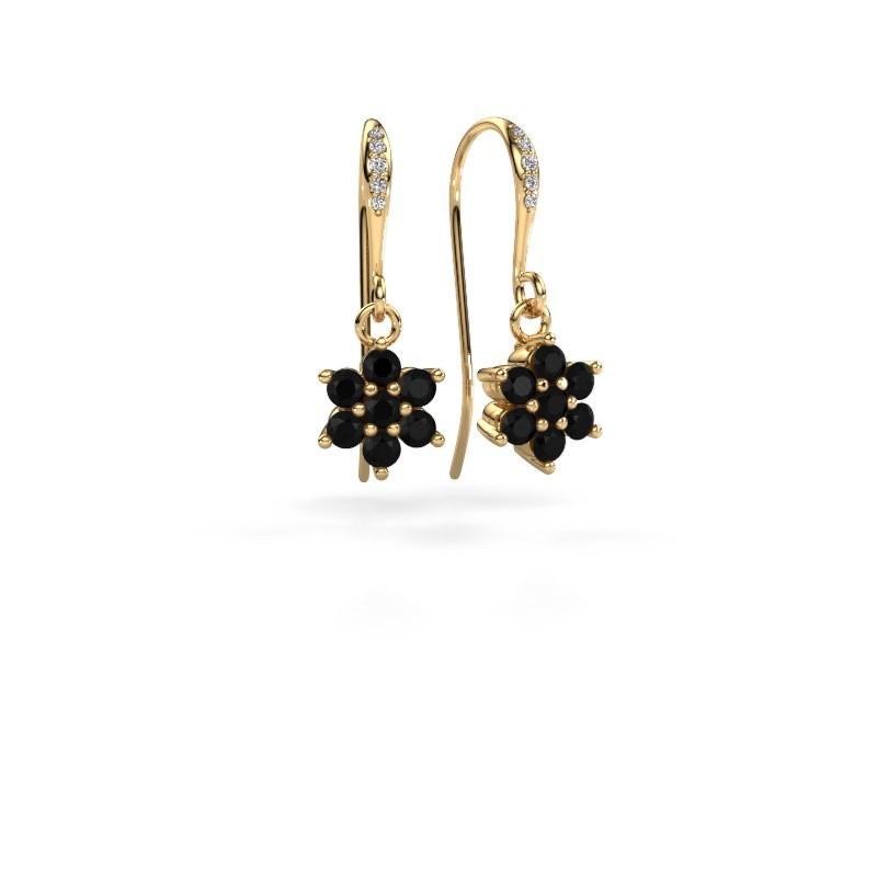 Oorhangers Dahlia 2 375 goud zwarte diamant 0.816 crt