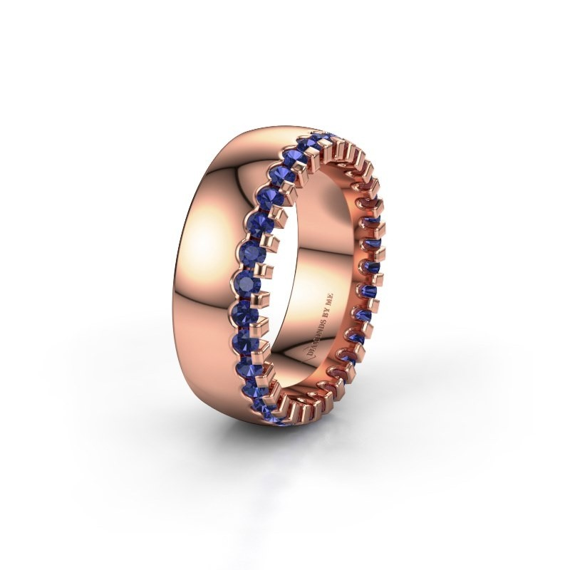 Wedding ring WH6120L27C 375 rose gold sapphire ±7x2.2 mm