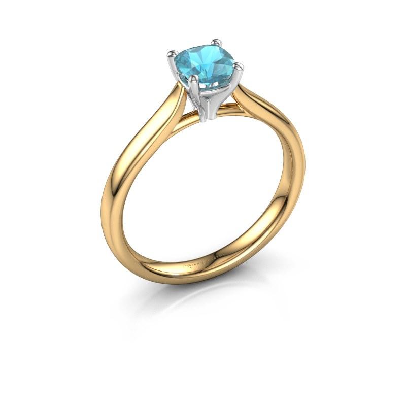 Verlobungsring Mignon cus 1 585 Gold Blau Topas 5 mm