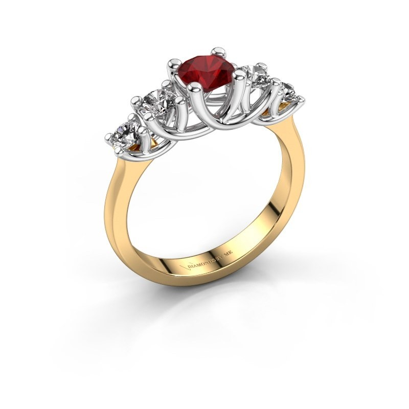 Engagement ring Jet 585 gold ruby 5 mm