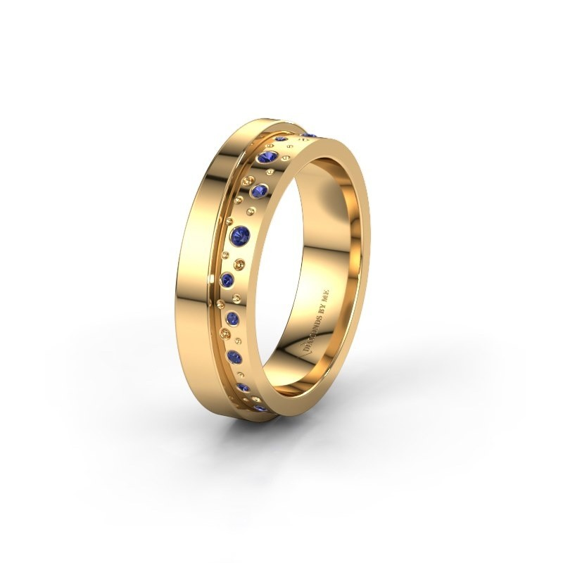 Wedding ring WH6016L15E 585 gold sapphire ±5x2.6 mm