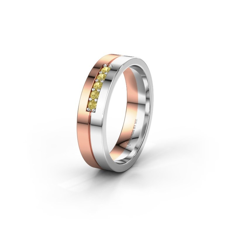 Wedding ring WH0211L15AP 585 rose gold yellow sapphire ±0.20x0.07 in