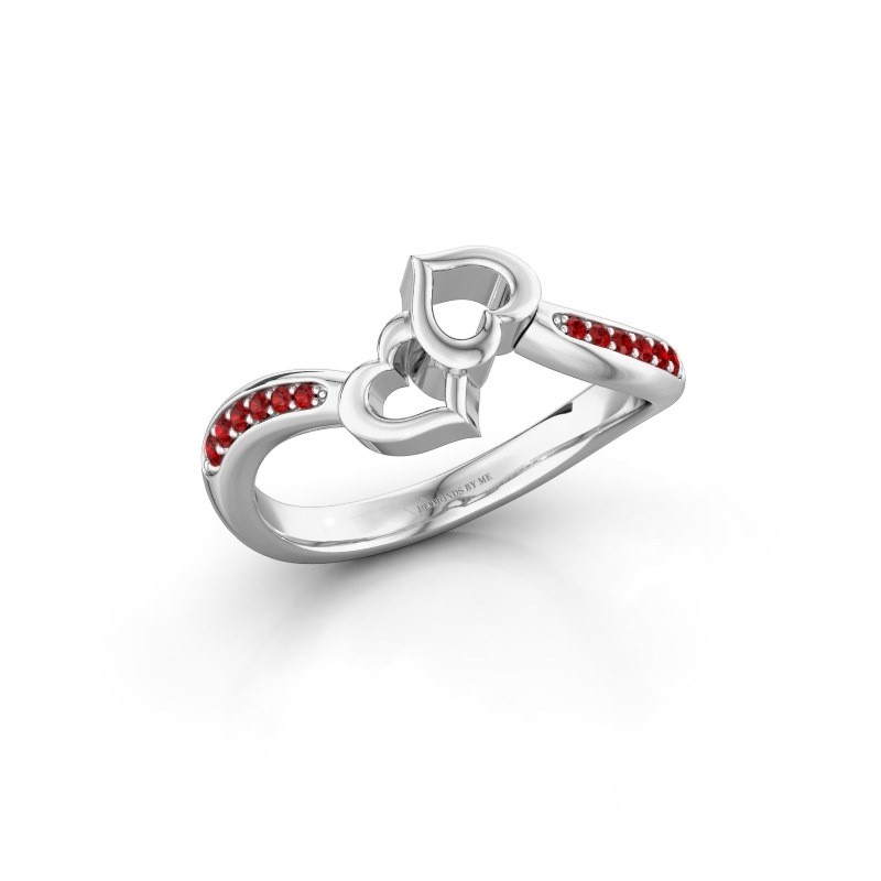 Ring Xaviera 950 platina robijn 1.5 mm