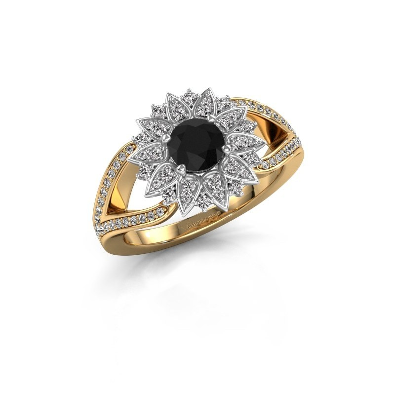 Aanzoeksring Chasidy 2 585 goud zwarte diamant 0.60 crt