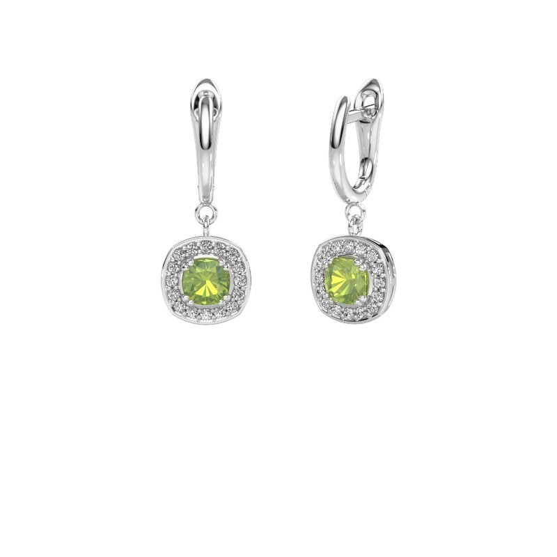 Drop earrings Marlotte 1 950 platinum peridot 5 mm