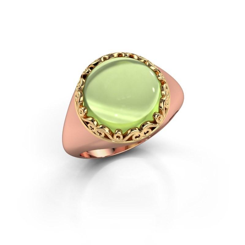 Ring Birgit 585 rosé goud peridoot 12 mm