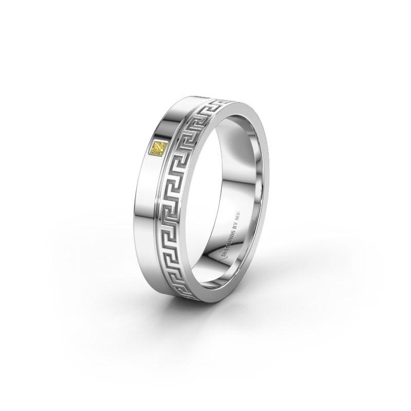 Huwelijksring WH0252L24X 950 platina gele saffier ±4x1.5 mm