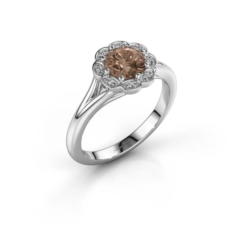 Aanzoeksring Claudine 950 platina bruine diamant 0.84 crt