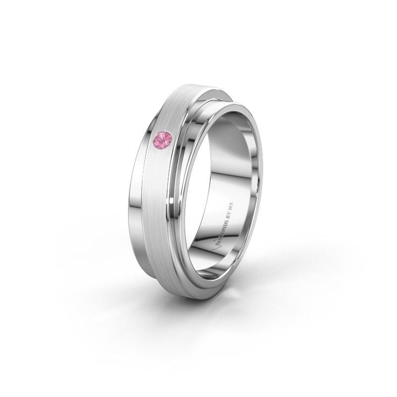 Huwelijksring WH2220L16D 950 platina roze saffier ±6x2.2 mm