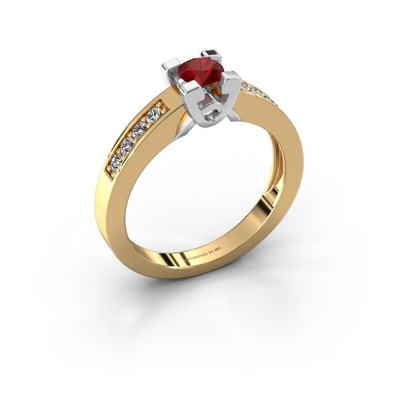 Verlovingsring Nina 2 585 goud robijn 4.2 mm