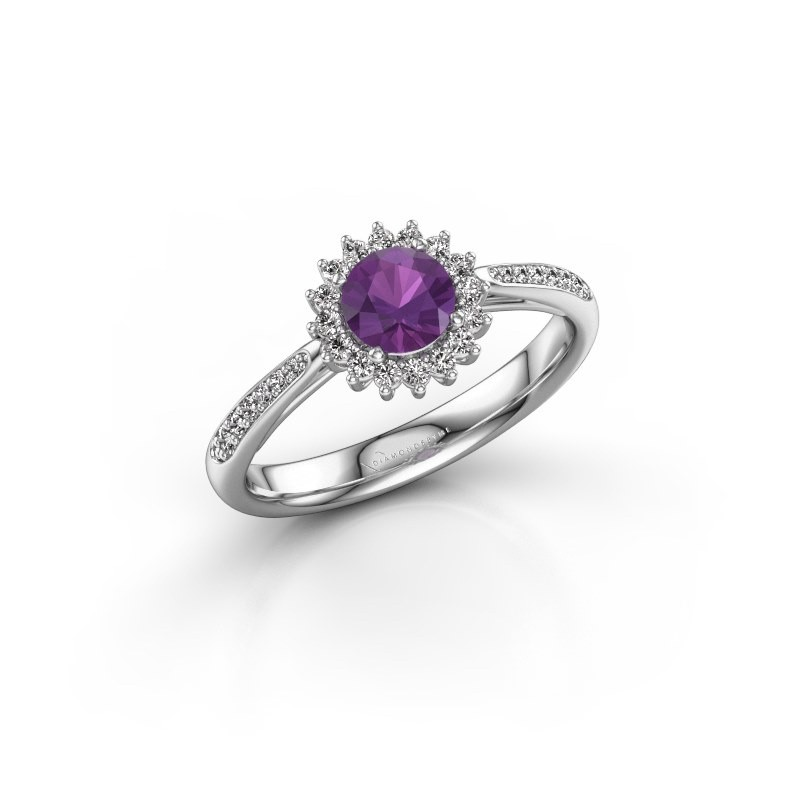 Engagement ring Tilly RND 2 585 white gold amethyst 5 mm