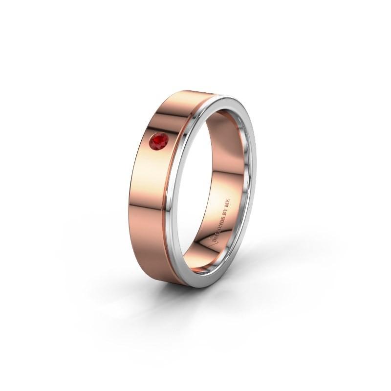 Trouwring WH0501L15AP 585 rosé goud robijn ±5x1.7 mm