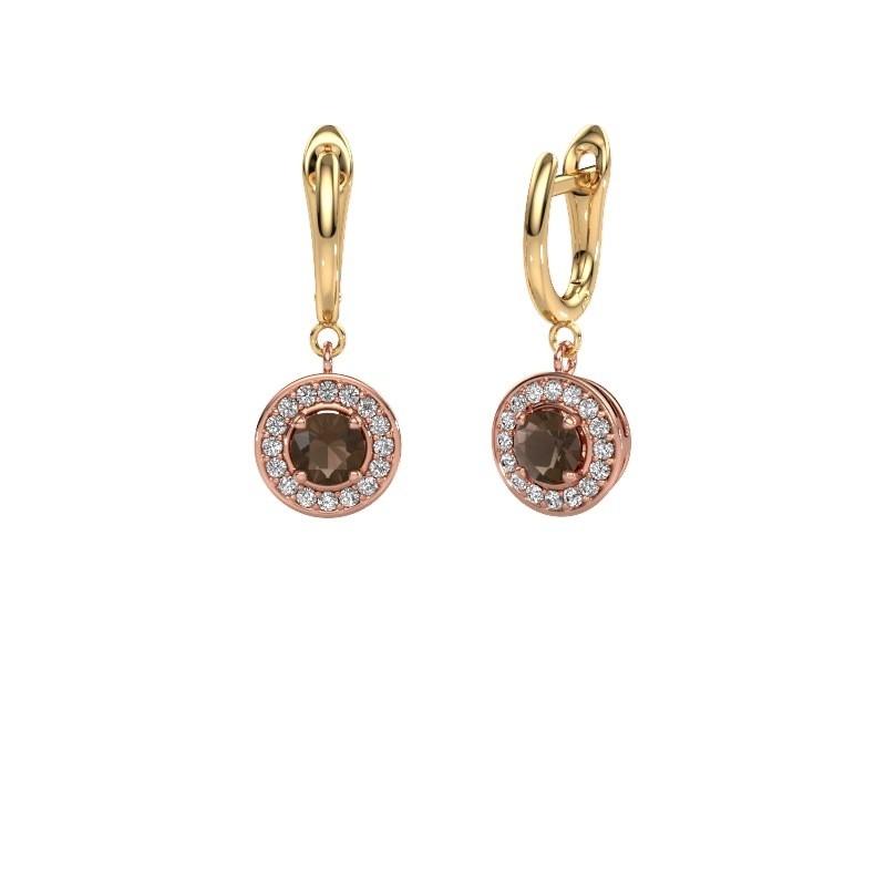 Oorhangers Ninette 1 585 rosé goud rookkwarts 5 mm