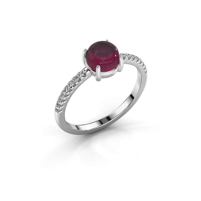 Ring Cathie 585 witgoud rhodoliet 6 mm