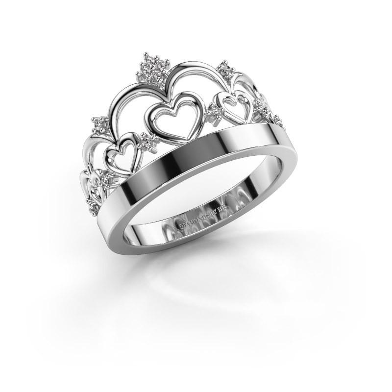 Ring Kroon 1 925 zilver diamant 0.06 crt