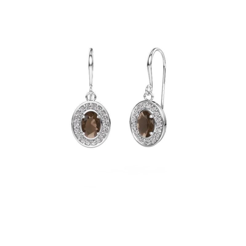 Drop earrings Layne 1 585 white gold smokey quartz 6.5x4.5 mm
