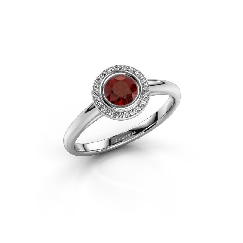Promise ring Noud 1 RND 585 white gold garnet 4.7 mm