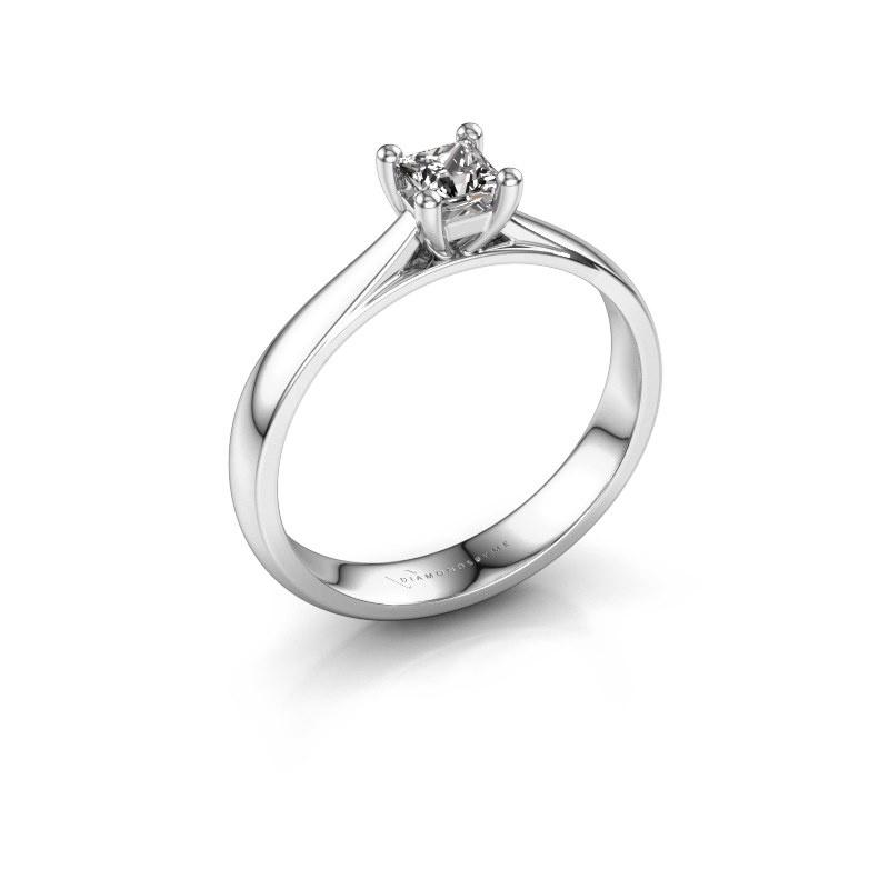 Bague de fiançailles Sam Square 585 or blanc diamant 0.25 crt