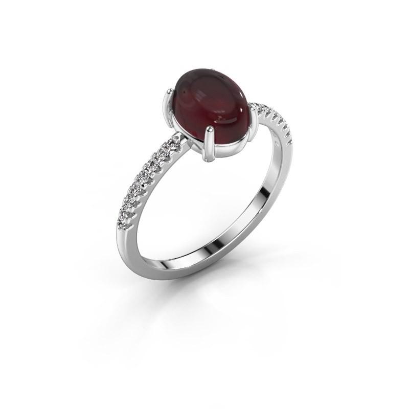 Ring Becky 925 silver garnet 8x6 mm