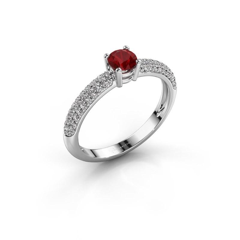 Ring Marjan 585 witgoud robijn 4.2 mm