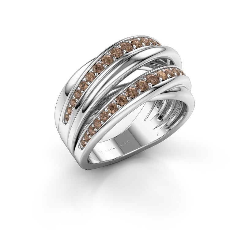 Ring Marylouise 2 585 white gold brown diamond 0.618 crt