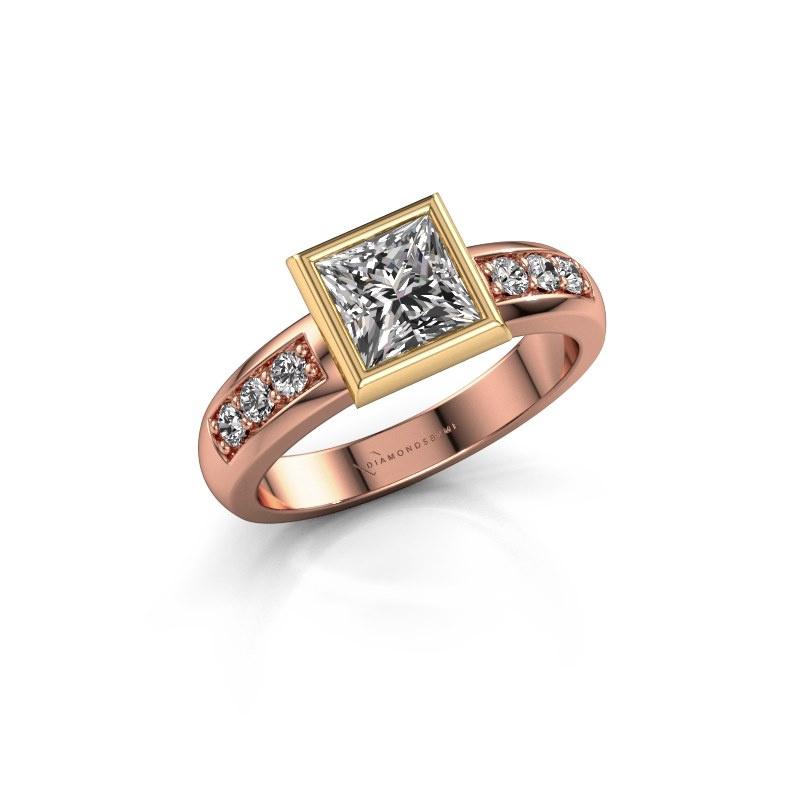 Bague superposée Lieke Square 585 or rose diamant 1.18 crt