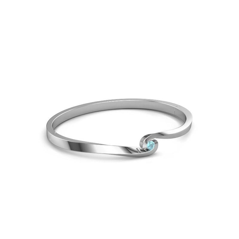 Bracelet jonc Sheryl 950 platine topaze bleue 3.7 mm
