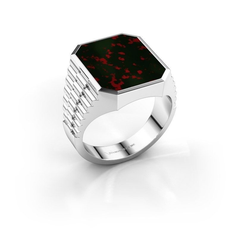 Rolex stijl ring Brent 4 925 zilver heliotroop 16x13 mm