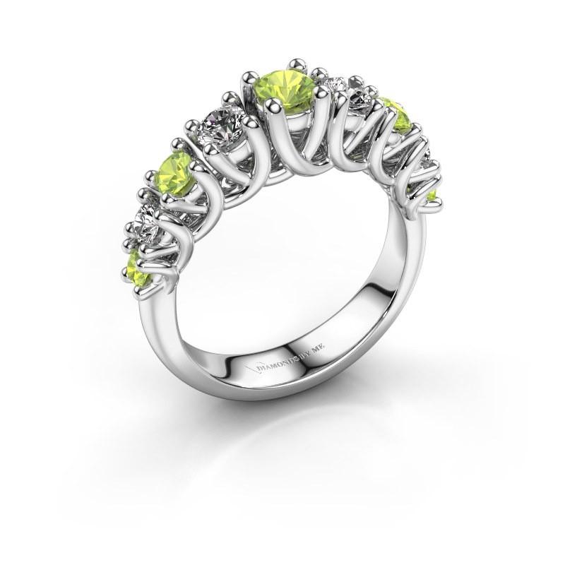 Engagement ring Fatima 925 silver peridot 3.7 mm