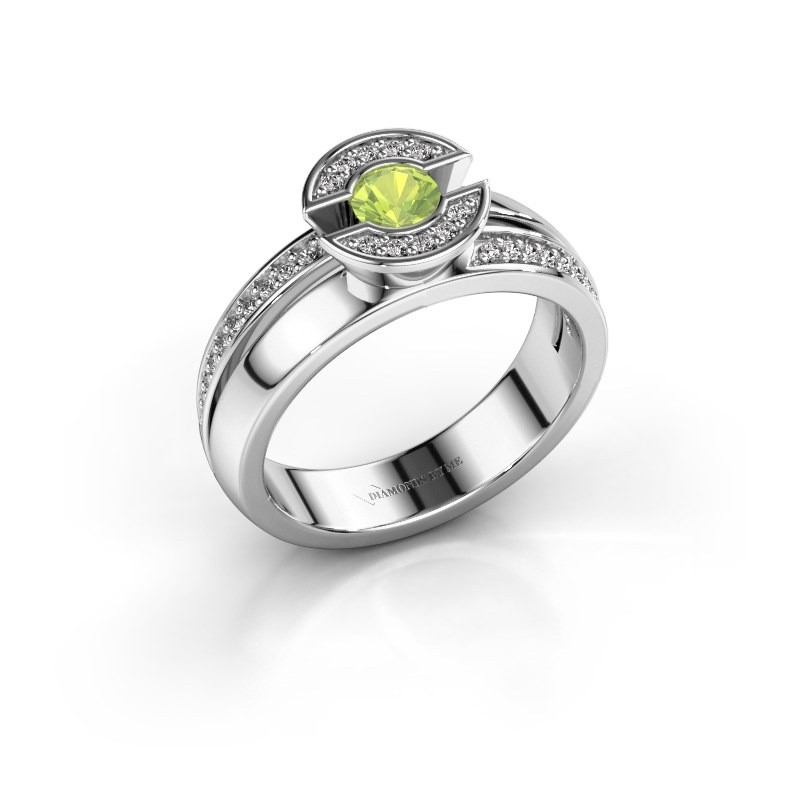 Ring Jeanet 2 950 platinum peridot 4 mm
