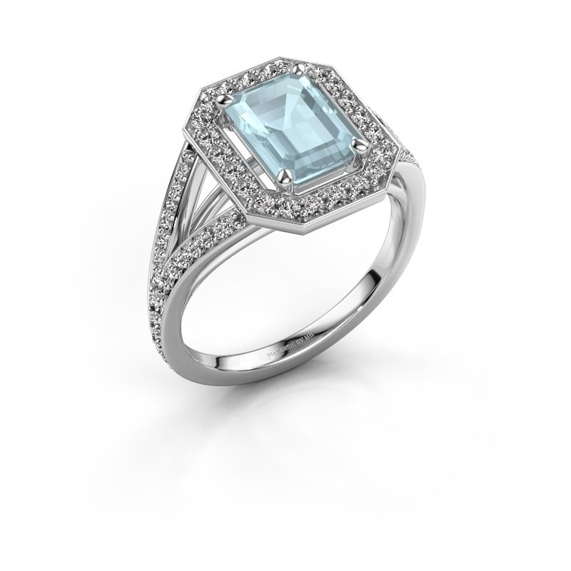 Promise ring Angelita EME 585 witgoud aquamarijn 8x6 mm