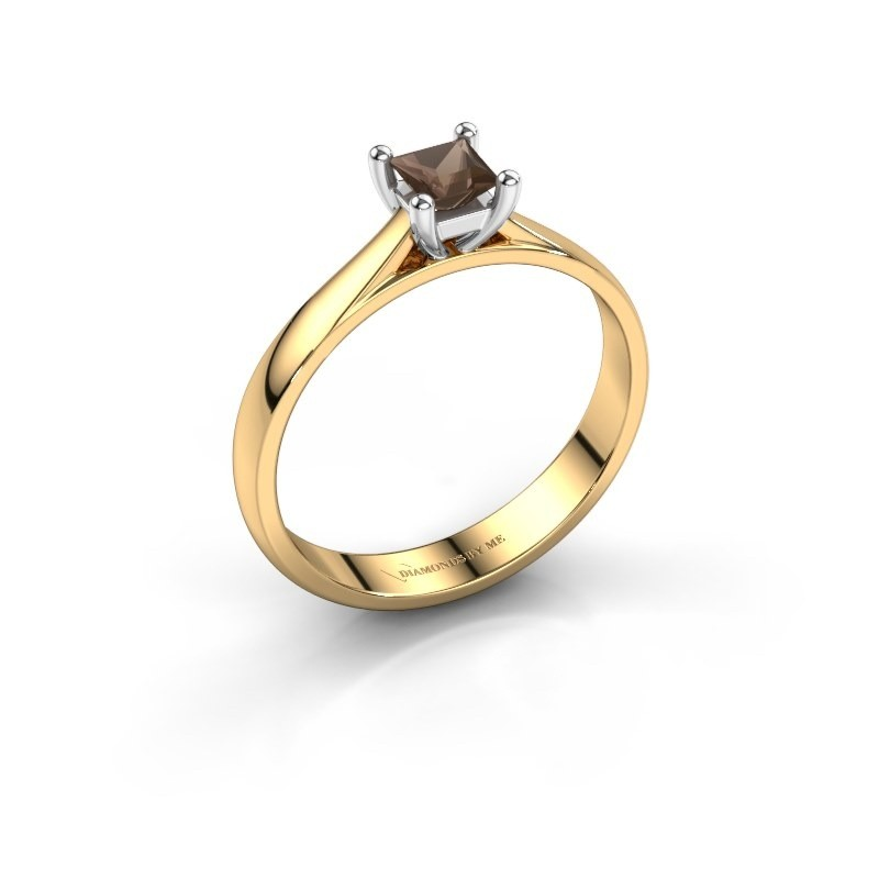 Engagement ring Sam Square 585 gold smokey quartz 4 mm
