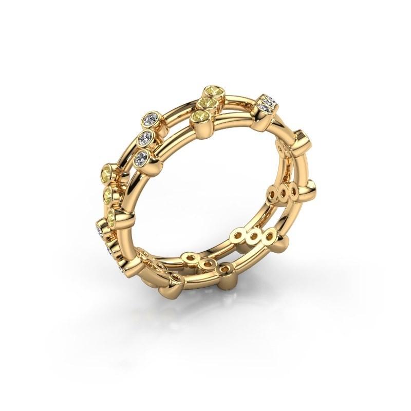Ring Floortje 375 gold zirconia 1.4 mm