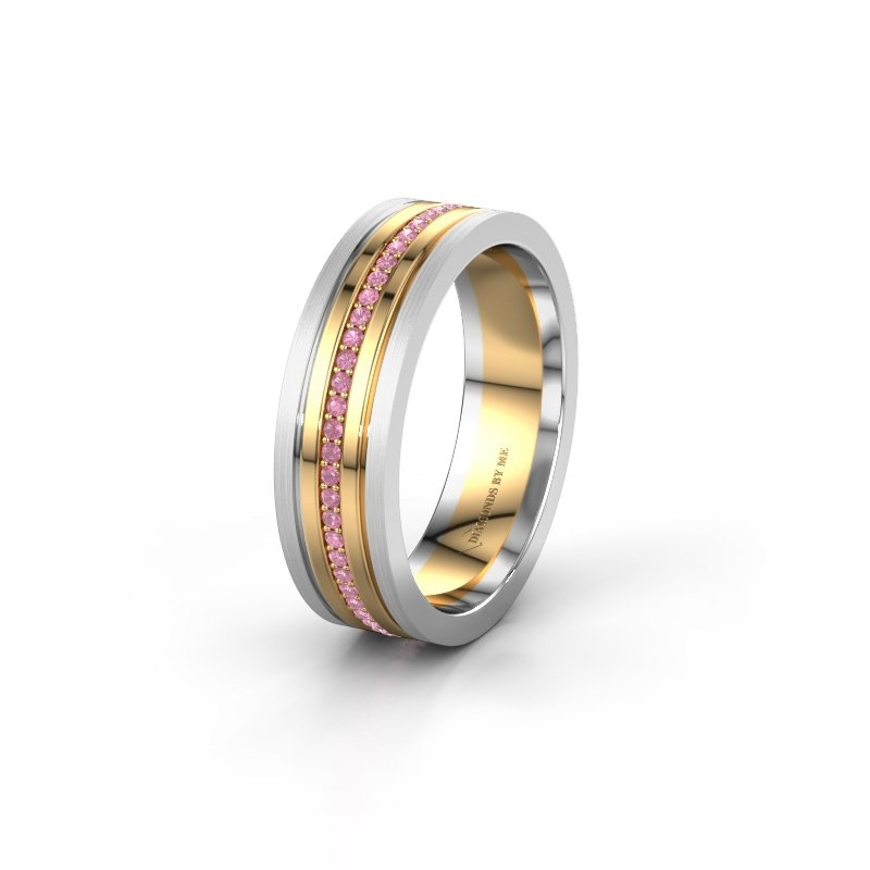 Wedding ring WH0404L16A 585 gold pink sapphire ±0.24x0.07 in