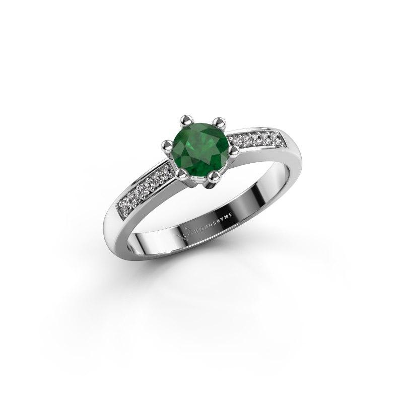 Verlovingsring Luna 2 585 witgoud smaragd 5 mm