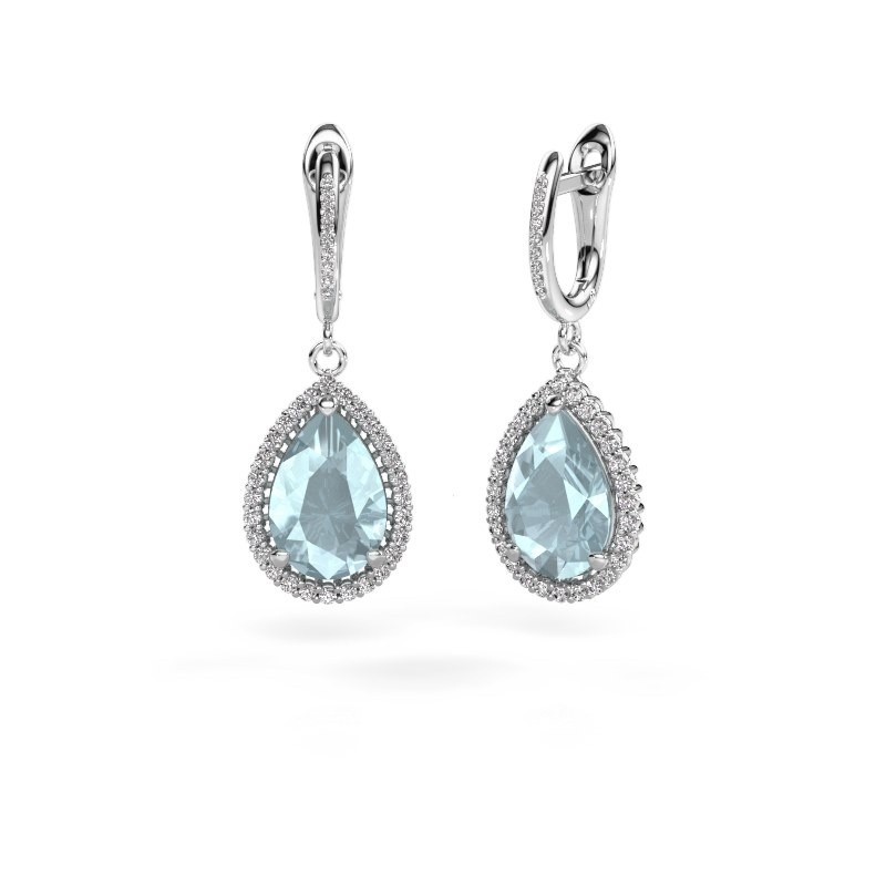 Drop earrings Hana 2 585 white gold aquamarine 12x8 mm