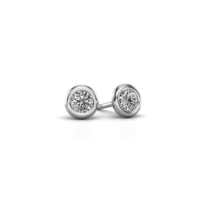 Oorstekers Lieke RND 585 witgoud diamant 0.50 crt
