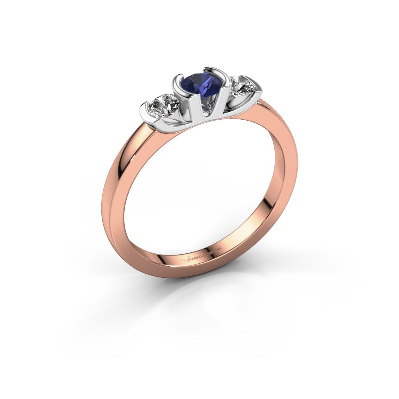 Ring Lucia 585 rose gold sapphire 3.7 mm
