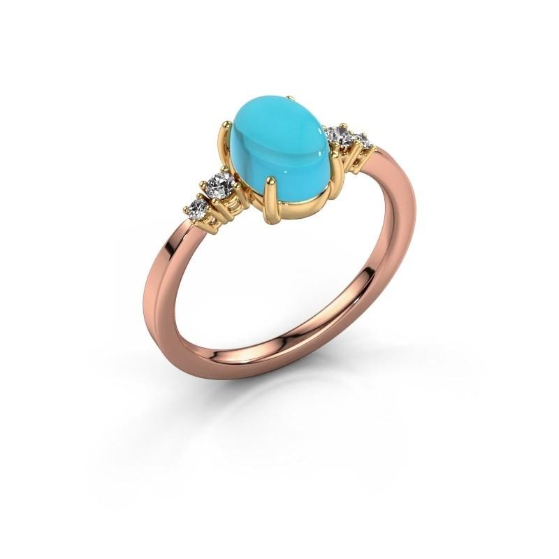 Ring Jelke 585 rosé goud blauw topaas 8x6 mm