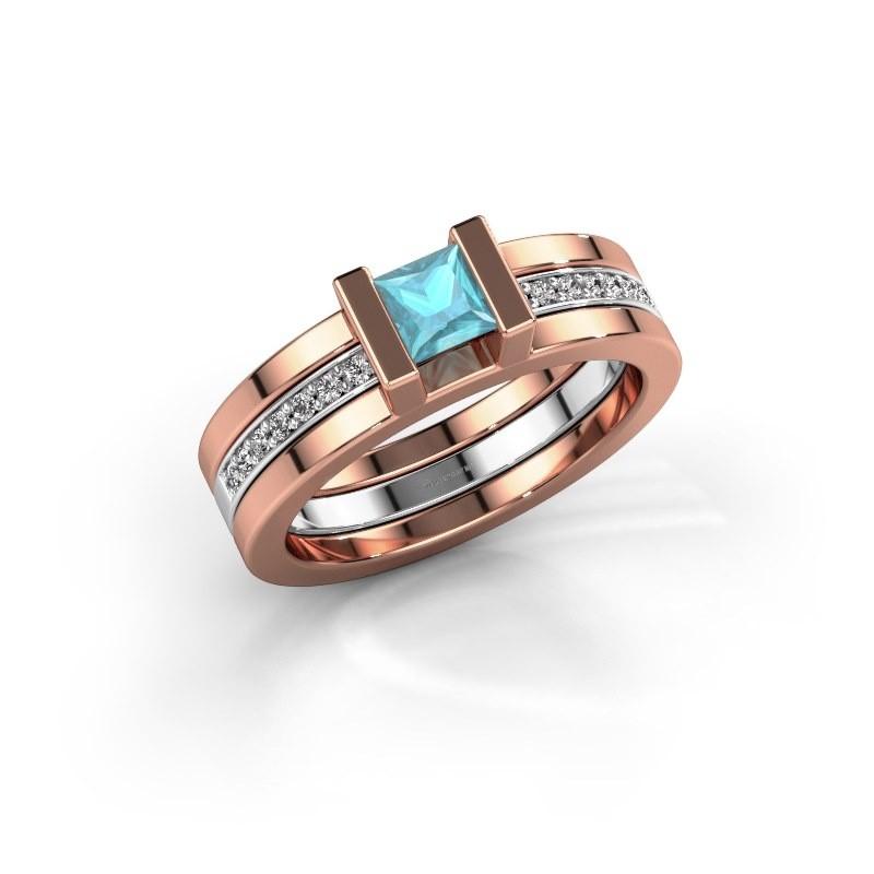 Ring Desire 585 rosé goud blauw topaas 4 mm