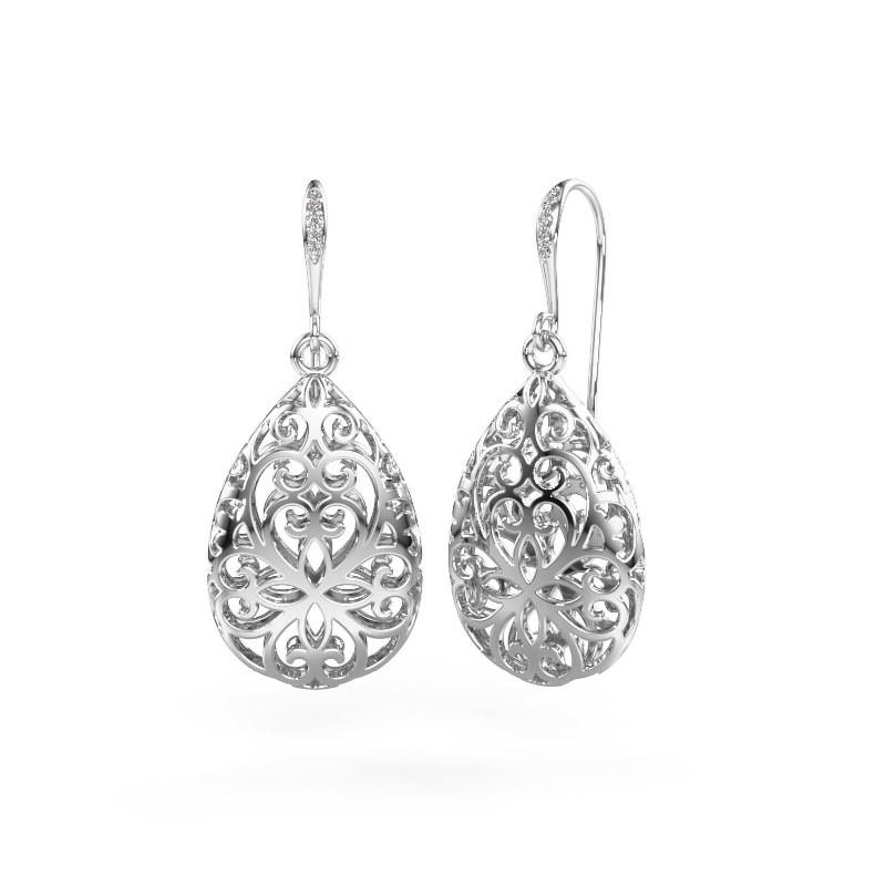 Drop earrings Idalia 1 375 white gold diamond 0.033 crt