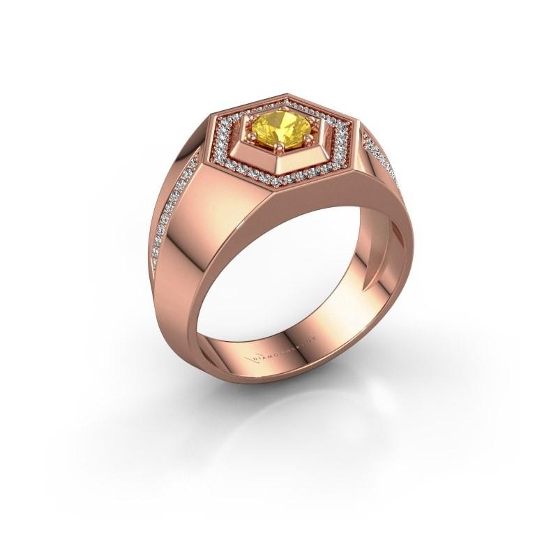 Men's ring Sjoerd 375 rose gold yellow sapphire 4.7 mm