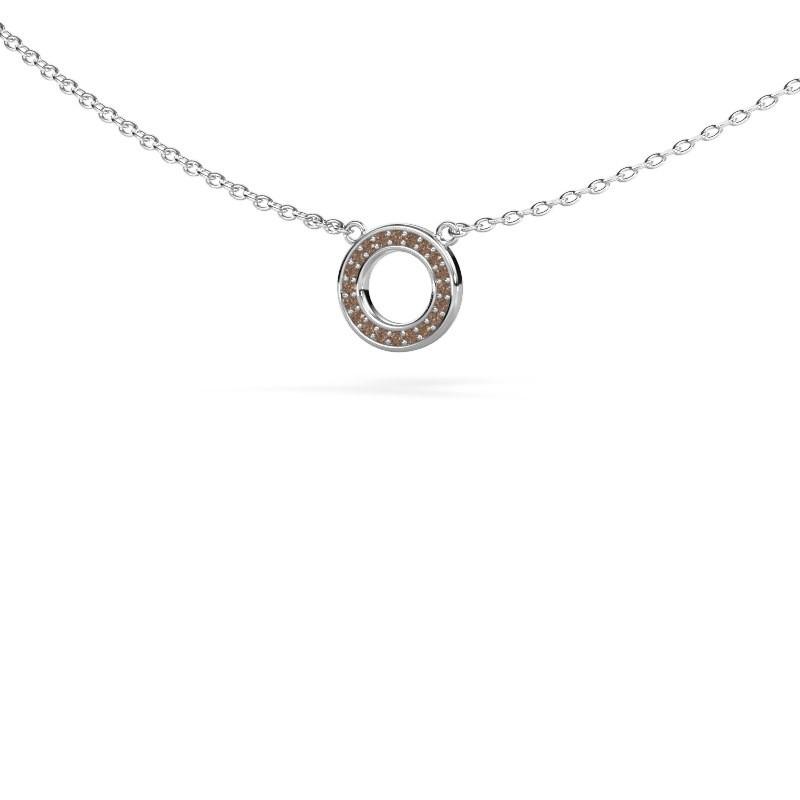 Hanger Round 2 585 witgoud bruine diamant 0.05 crt