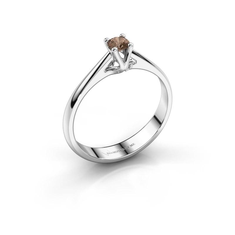 Engagement ring Janna 1 950 platinum brown diamond 0.15 crt