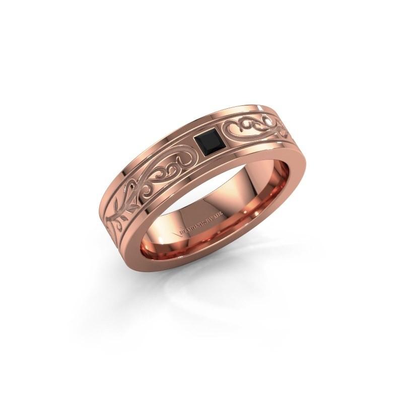 Heren ring Matijs 375 rosé goud zwarte diamant 0.204 crt