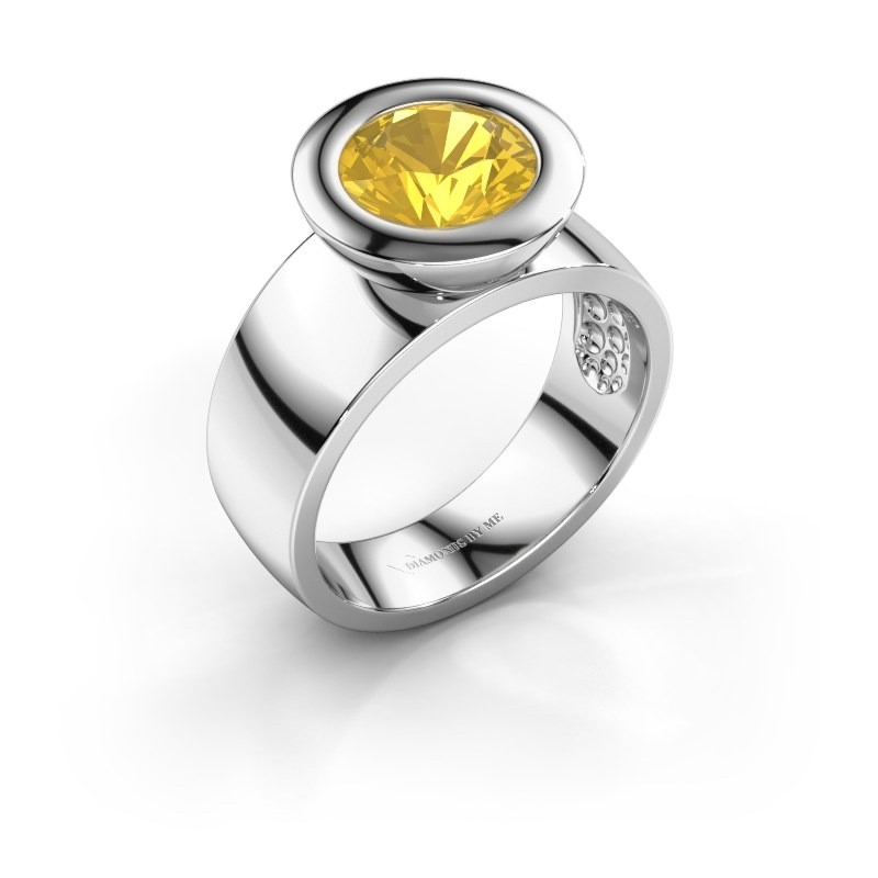 Ring Maxime 925 silver yellow sapphire 8 mm
